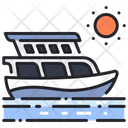 Yacht And Sun Travelling Summer Icon