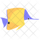 Yellow Longnose Butterfly Fish Sea Creature Animal Icon