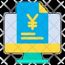 Monitor Yen Document Finance Document Icon
