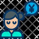 Yen Woman Conversation Icon