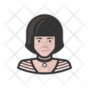 Young Girl Stripes Avatar Icon