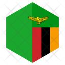 Zambia Flag Hexagon Icon