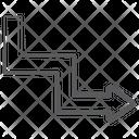 Zigzag Arrow Flexible Turn Arrow Curved Arrow Icon
