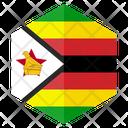 Zimbabwe Flag Hexagon Icon