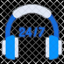 24Hr Helpline Flat Icon