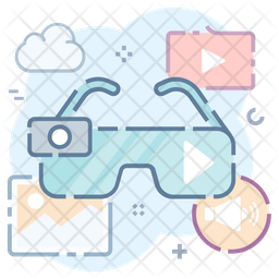 3d Glasses Colored Outline Icon