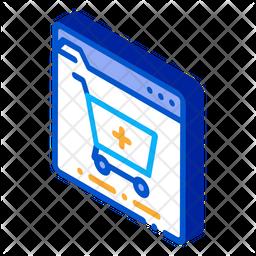 Add Cart Isometric Icon