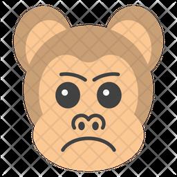 Aggressive Monkey Face Flat  Emoji Icon