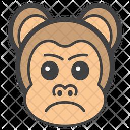 Aggressive Monkey Face Colored Outline  Emoji Icon