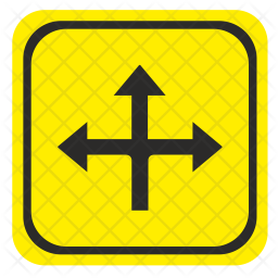 Ahead, Intersection, Road, Pointer Icon