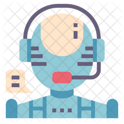 AI Customer Service Flat Icon