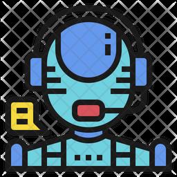 AI Customer Service Colored Outline Icon