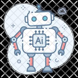 Ai Robot Process Colored Outline Icon