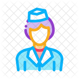 Air Hostess Colored Outline Icon