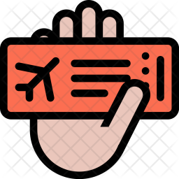 Airplane, Ticket, Hand, Beach, Holidays, Camping, Travel Icon