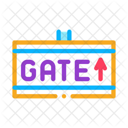 Airport Gate Colored Outline Icon