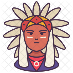American Indian Colored Outline Icon