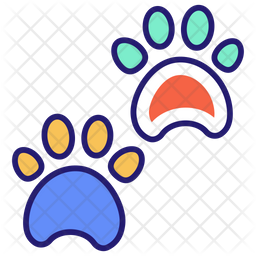 Animal Footprint Colored Outline Icon
