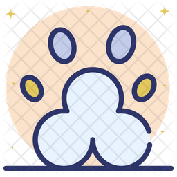 Animal Paw Colored Outline Icon