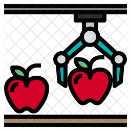 Apple Robot Farming Colored Outline Icon