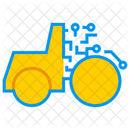 Artificial Intelligence On Farming Colored Outline Icon