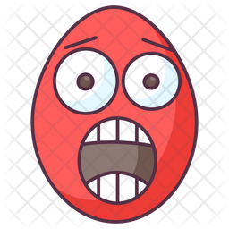Astonished Egg Colored Outline Icon