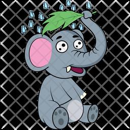Baby Elephant Showering Icon