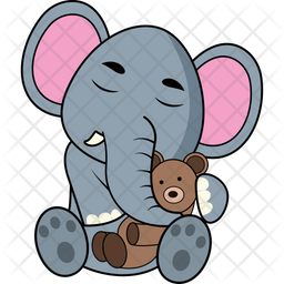 Baby Elephant With Teddy Icon