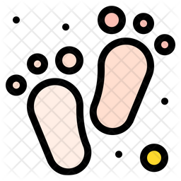Baby Feet Colored Outline Icon