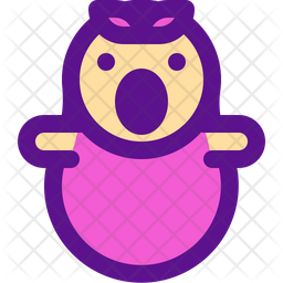 Baby Girl Colored Outline Icon