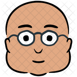 Bald Man Colored Outline Icon