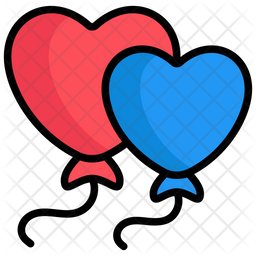 Balloons Colored Outline Icon