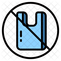 Ban Plastic Bag Colored Outline Icon