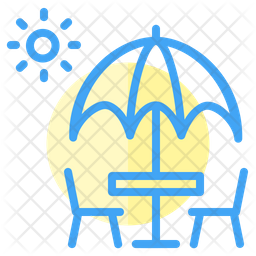 Beach Colored Outline Icon