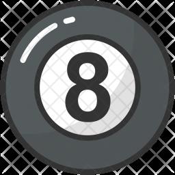 Billiard Ball Colored Outline Icon