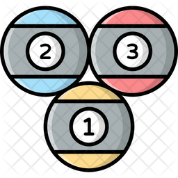 Billiard Balls Colored Outline Icon