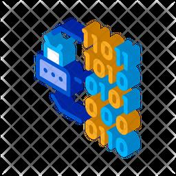 Binary Code Isometric Icon