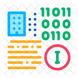Binary Information Colored Outline Icon