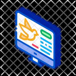 Bird Webpage Isometric Icon