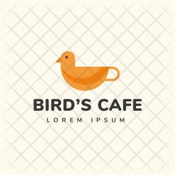 Birds Cafe Colored Outline  Logo Icon