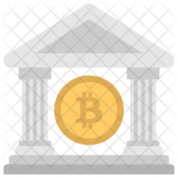 Bitcoin and Bank Icon