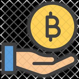 Bitcoin Donation Colored Outline Icon