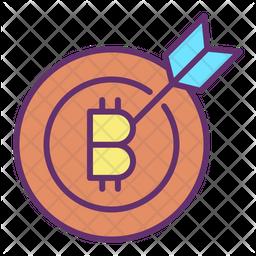 Bitcoin Goal Colored Outline Icon