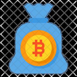 Bitcoin Money Bag Flat Icon
