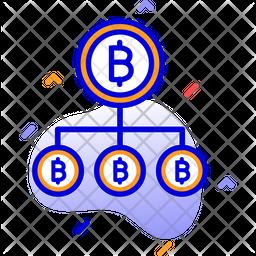 Bitcoin Network Colored Outline Icon
