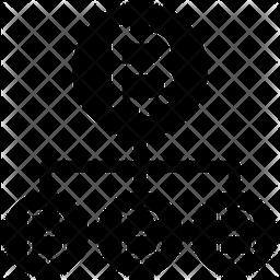Bitcoin Network Structure Glyph Icon