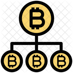 Bitcoin Network Structure Colored Outline Icon