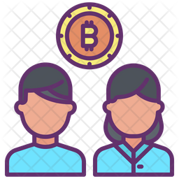 Bitcoin Users Colored Outline Icon