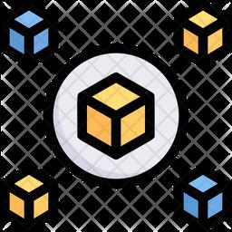 Block Chain Colored Outline Icon