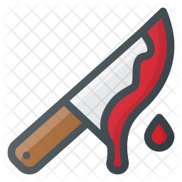 Bloody knife Colored Outline Icon